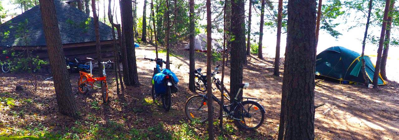 Велосипед и палатки!